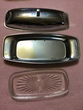 Vintage Milbern Creations Mid Century Modern Butter Trays Chrome & Glass Tray