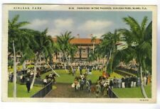 HIALEAH PARK, THOROUGHBRED HORSE RACING TRACK, PARADING IN PADDOCK,1933 POSTCARD