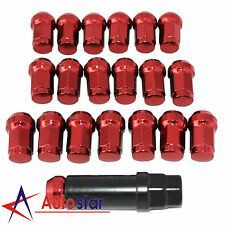 Red 20PCS M12X1.5 Steel Locking Heptagon Wheel Rim Lug Nuts For Acura Chevy