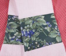LAURA ASHLEY FABRIC  Green Bramble Custom Decorated Hand Towels /2