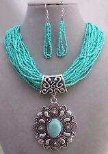 Multi Strand Turquoise Bead Silver Pendant Necklace Set Fashion Jewelry
