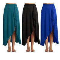 Women High Low Boho Long Skirt Elastic High Waist Beach Party Dance Maxi Dress