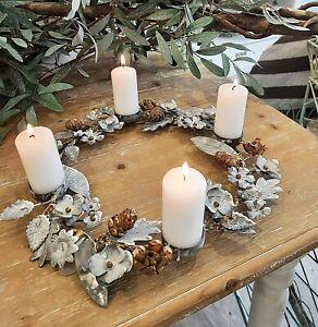 Adventskranz 35 cm Metall Kerzenleuchter Zink Kerzenkranz Windlicht Shabby