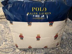 Ralph Lauren Polo Teddy Bear Twin Comforter SET Boy NWT with 1 Standard Sham