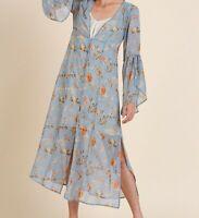 New Umgee Duster Kimono Cardigan M Sky Blue Floral Boho Peasant Cottagecore