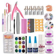 3 Colour Acrylic Nail Art Powder Liquid Set Rhinestone Forms Brush tips Kit #27