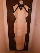 Vintage Asian Dress  Black Ivory Lined Hand Applique Size Small