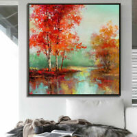 ZWPT1533 100% hand painted oil painting fine landscape tree art on Canvas