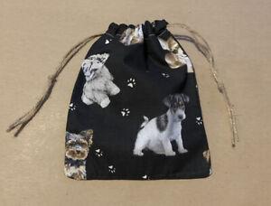 Dog Pattern Handmade Drawstring Christmas Gift Bag