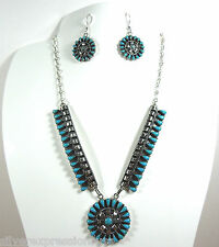 Handcrafted Turquoise Petit Point 925 Sterling Silver Necklace & Earrings Set