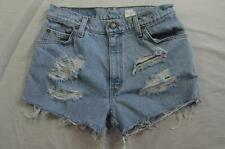 "Womens 29"" Zipper Fly Levi Cut Off Denim Shorts Daisy Duke Jeans Distressed"