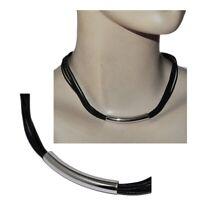 Collier moderne ras de cou cordon de cuir noir argent massif 925 43cm bijou
