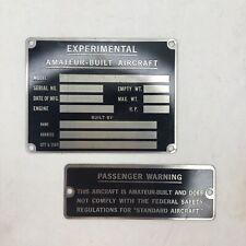 Experimental Amateur-Built Aircraft Placard Plate and Passenger Warning Plate