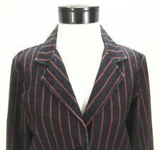 BEN SHERMAN Denim Blazer Pinstripe Blue/Red Striped Jean Jacket Women's XL $130