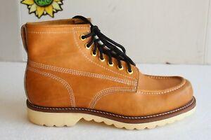 Vintage 1980's Men's Work Moc Toe Boots Wheat Leather. US Size 10 D