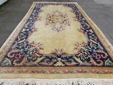 Vieux Fait main ART DECO Chinois Oriental Or Bleu Laine Long Tapis 450x252cm