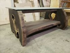 Walnut live edge coffee table Rare live edge glass top slab wood table wood top