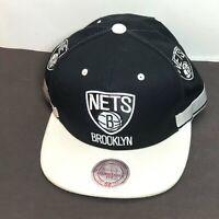 Brooklyn Nets Hat Snapback Cap Mitchell Ness Black White Logo NBA Basketball