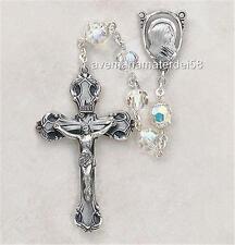 "Sterling Aurora Borealis Swarovski Crystal 7MM Beads Rosary Creed 2"" Cross Italy"