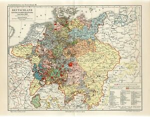 1895 GERMANY in 1648 RUSSIA POLAND BOHEMIA HUNGARY FRANCE VENICE Antique Map