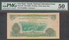 Vietnam South National Liberation Front 10 Dong P-R7 Nd 1968 Pmg 50