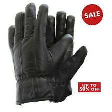 Mens Real Leather Winter Fleece Lined Soft Comfy Driving Black Thermal Gloves
