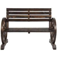 Dark Brown Wood Wagon Wheel Western Patio Garden Bench Ranch Country Furniture