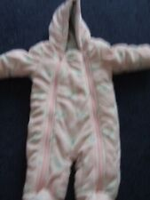 M & S double zip up hooded winter suit, free hands 0 - 3 months pink/grey
