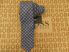 HUGO BOSS Tie Sumptuous Blended Woven Navy/Blue Check Slim Long Ties BNWT RRP£65