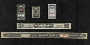 Canada Stamps: Revenues; Tobacco Tax Paids; Various Formats/Issues; 5 Diff.