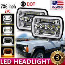 H6052 7X6 5X7 LED Headlight Black For 86-95 Jeep Wrangler YJ Cherokee XJ Chevy
