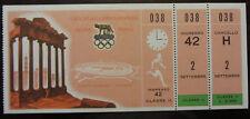 1960 ROME OLYMPIC GAMES II CLASS TICKET ATHLETICS ATLETICA ORIGINALE E COMPLETO