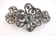 Rhinestone Barrette Flower Silver Metal French Style Bridal Prom Wedding