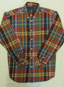 Boys Ralph Lauren Shirt size L 14-16 years Orange Green Check LS Small Pony New