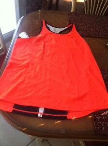 NIKE  Ladies Athletic Racerback Jogging Drifit ToP Size XL Orange W/ Blue Trim