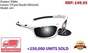 RayZor White Sports Wrap Sunglasses Uv400 Vented Smoke Mirrored Lens (401