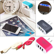 Thriple USB Ports Data Cable AC Adapter Power Cord Charger F Samsung Cell phones