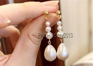 AAA natural WHITE 8-7 MM south sea pearl earrings