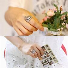 Women's Queen Crown Pattern Ring Set Rhinestones Rings Wedding Rings 2pcs/set