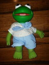 "Vintage w Tag 1989 Muppet Babies Kermit the Frog 15"" Plush Doll w/Pvc Head"