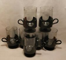 Corning Glas-Snap Vintage Mugs Black Cups Set of 7 Glassware Small 8oz Hot Cold