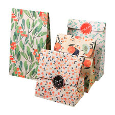 12Pcs Kraft Paper Bags Flower Pattern Christmas Candies Present Gift Bag Holder