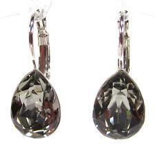SoHo® Ohrhänger mit Kristall tropfen black diamond grau Ohrringe Strass