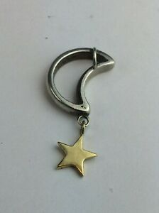 18ct (750) Yellow Gold Star and White Metal Moon Pendant Available Worldwide