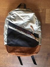 Eastpak Backpack Made In USA Leather Bottom Grey Black EUC