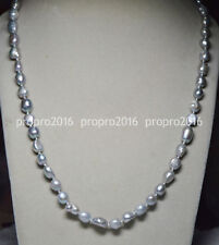 24INCHES LONG 9-10MM SILVER GRAY REAL BAROQUE CULTURED PEARL NECKLACES PN836