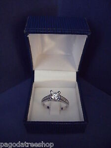 New 925 Sterling Silver Solitaire Ring with Cubic Zirconia Boxed Various Sizes