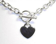 "Heart Charm Toggle Solid Sterling Silver Link Necklace 18"" (48 grams)"