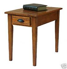 New Small Vintage Chairside Table Drawer Medium Brown