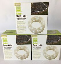 Lot of 3 NEW Outdoor Solar Rope LED Lights 16 ft 50 Lamps Lawn-Garden-Deck